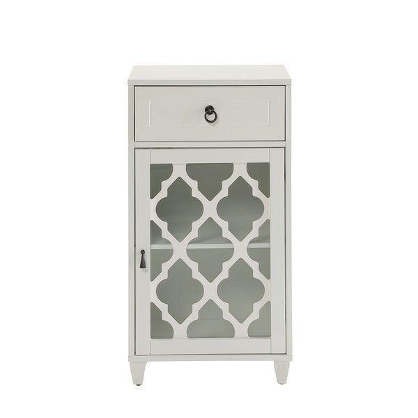 HomeRoots Furniture Classic Ceara Floor Cabinet with 1 Drawer in White
