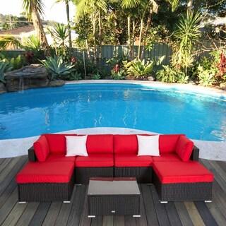 Kinbor 7 PCs Outdoor Cushioned Rattan Wicker Sofa All-Weather Patio Sectional Sofa Set