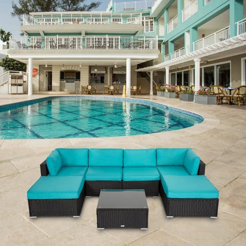 Kinbor 7-piece Outdoor Furniture Cushioned Rattan Wicker Sofa Set All-Weather Patio Sectional Sofa
