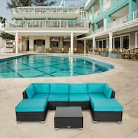Kinbor 7 PCs Outdoor Cushioned Rattan Wicker Sofa All-Weather Patio Sectional Sofa Set