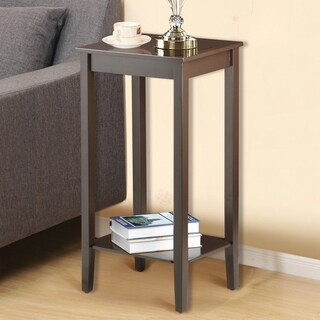 2 Tier Living Bedroom Wood Nightstand Tall Sofa Side End Table