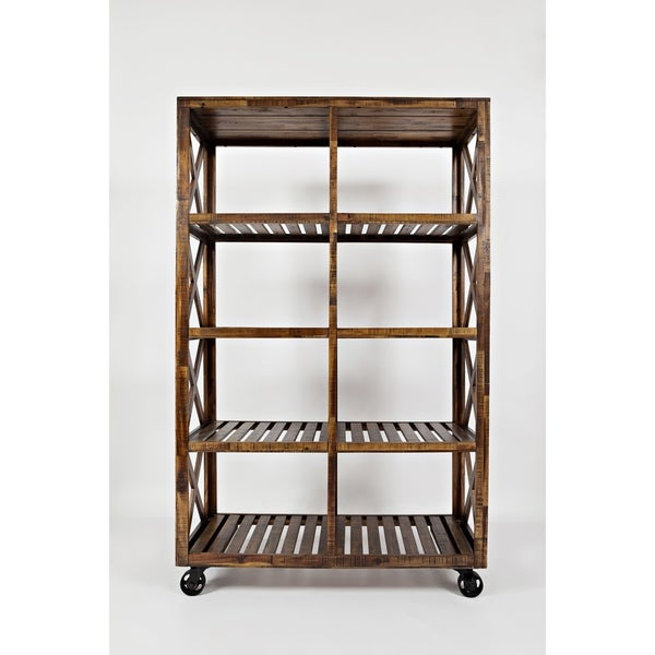 Rustic Style Solid Wood Trolley Pantry with Caster Legs, Brown