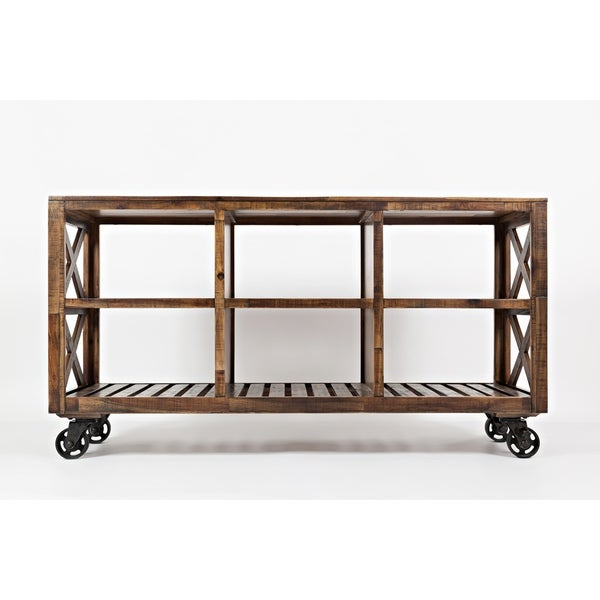 Solid Wood Trolley Cart with Six Slatted Shelves, Brown