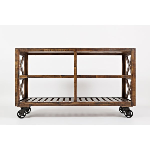 Solid Wood Trolley Cart with Four Slatted Shelves, Brown