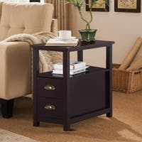 2-Tier Furni Storage Nightstand Accent End/Side Table with 2 Drawers