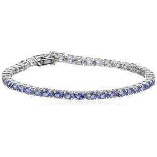 "Pinctore Sterling Silver Tanzanite Oval Tennis Bracelet, 7.25"""