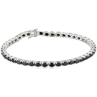 Pinctore Sterling Silver Black Spinel Oval Tennis Bracelet, 7.25""