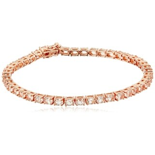 "Pinctore Rose Gold-Plated Silver Morganite Oval Tennis Bangle Bracelet, 7.5"""