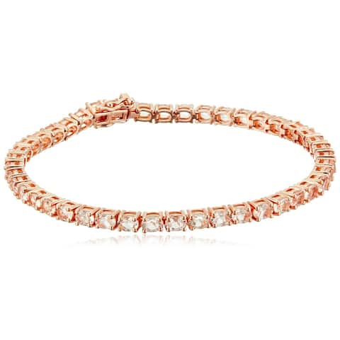 Rose Gold-Plated Silver Morganite Tennis Bangle Bracelet 7.5
