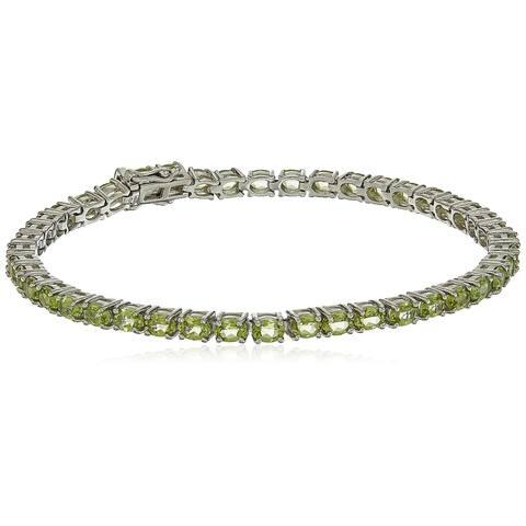 """Sterling Silver Peridot Oval Tennis Bracelet, 7.25"""""""