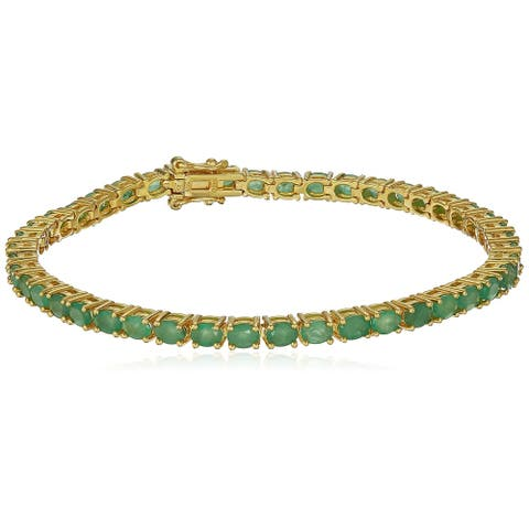 Yellow Gold plated Silver Emerald Tennis Bracelet 7.25