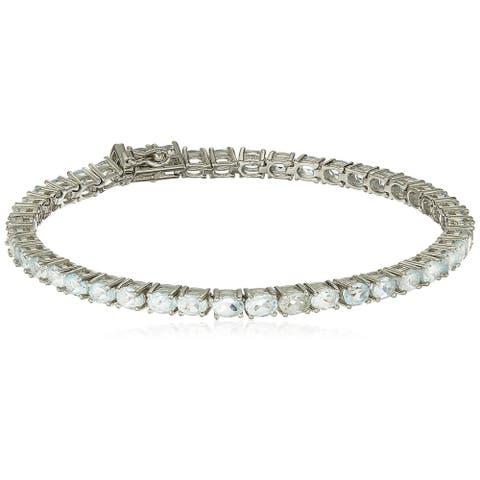 "Sterling Silver Sky Blue Topaz Oval Tennis Bracelet, 7.25"""