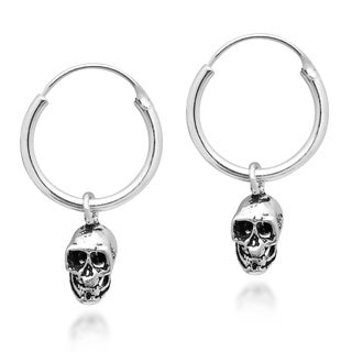 Handmade Unique & Edgy Skull on a Sterling Silver Hoop Earrings (Thailand)