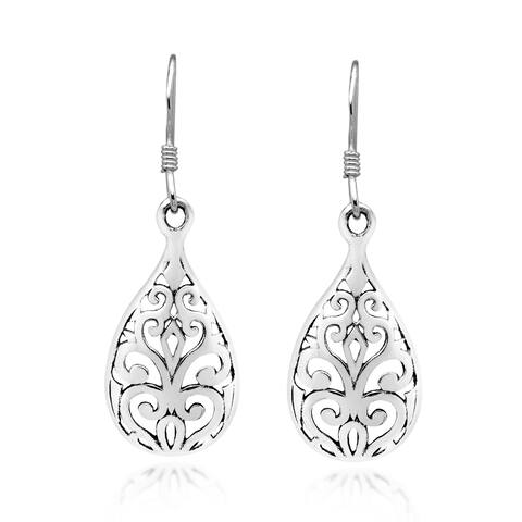 Handmade Vintage Ornate Teardrop Swirl of Sterling Silver Dangle Earrings (Thailand)