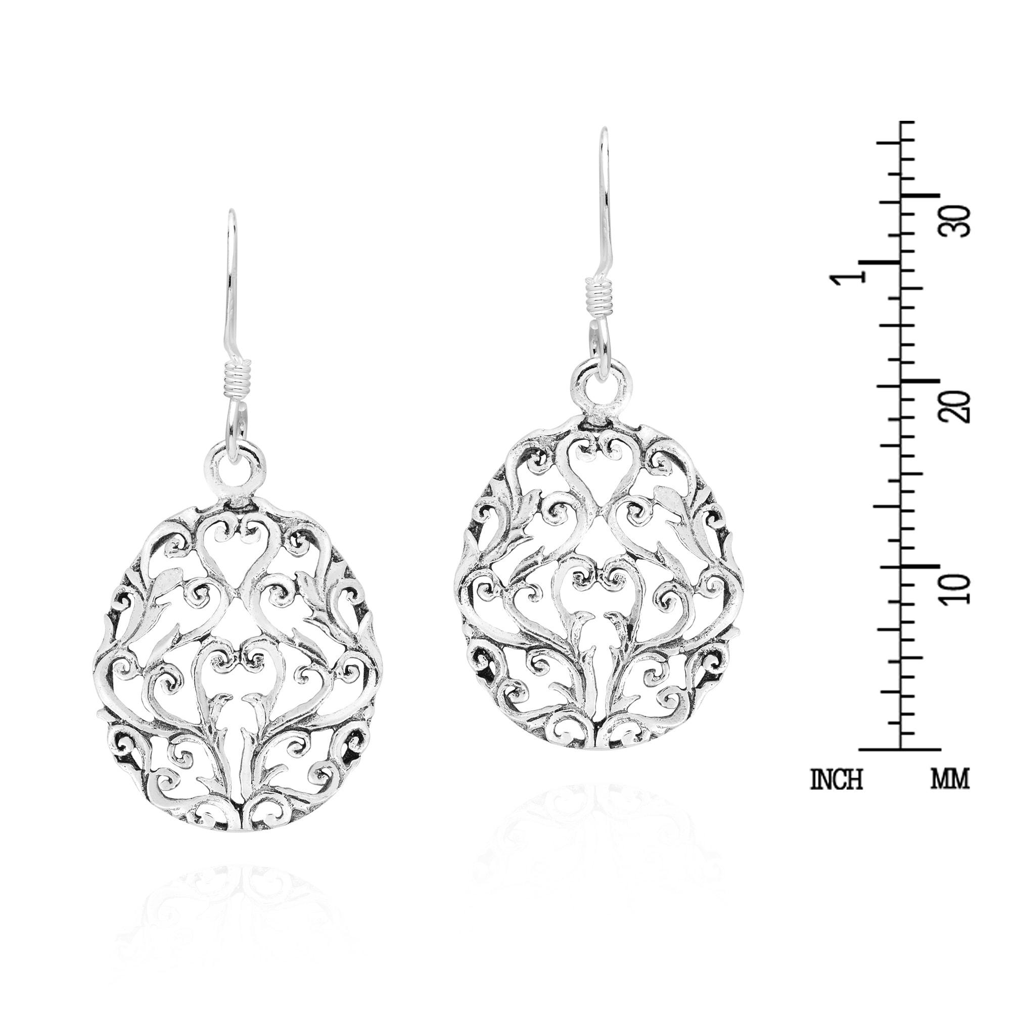 MySilver 925 Sterling Silver /& Marcasite Heart Drop Earrings