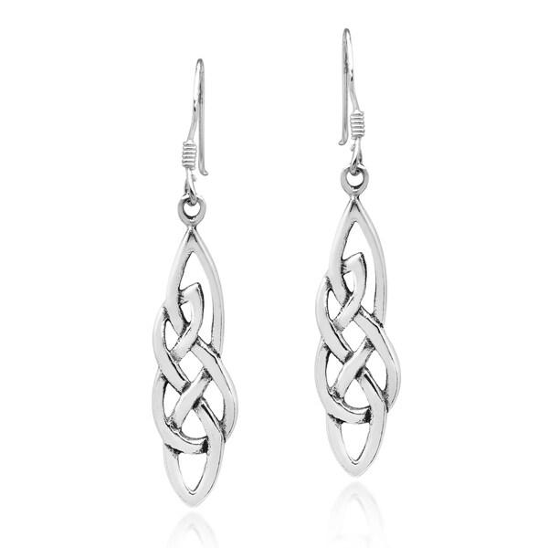 5f0d82152 Handmade Elegant Celtic Knot Sterling Silver Dangle Earrings (Thailand)