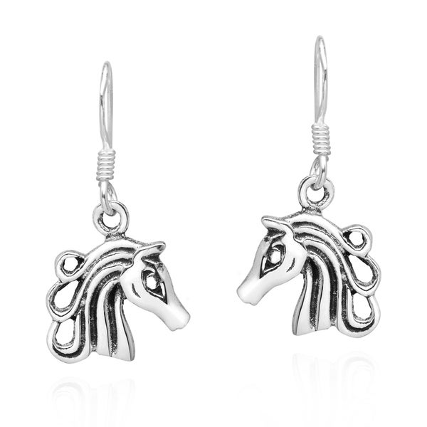 Handmade Graceful Equine 925 Sterling Silver Dangle Horse Earrings Thailand