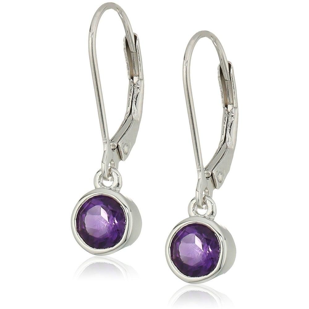 Sterling Silver African Amethyst and Amethyst Tonal Cluster Earrings