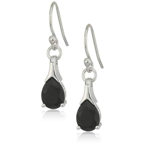Sterling Silver Black Spinel Lever Back Dangle Earrings