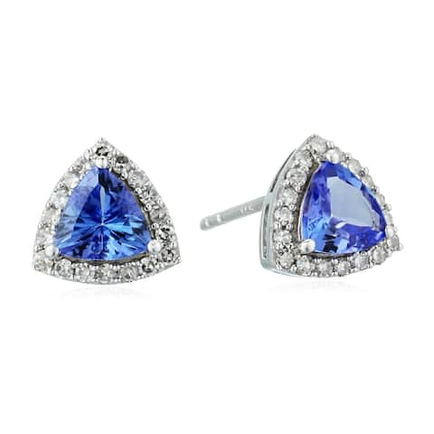 14k White Gold 3/4 cttw Trillion Tanzanite and Diamond Halo Stud Earrings (1/8 cttw, I-J Color, Clarity I2-I3)