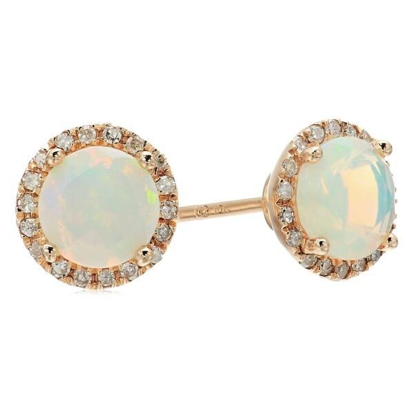 Shop Pinctore 10k Rose Gold Ethiopian Opal And Diamond Classic