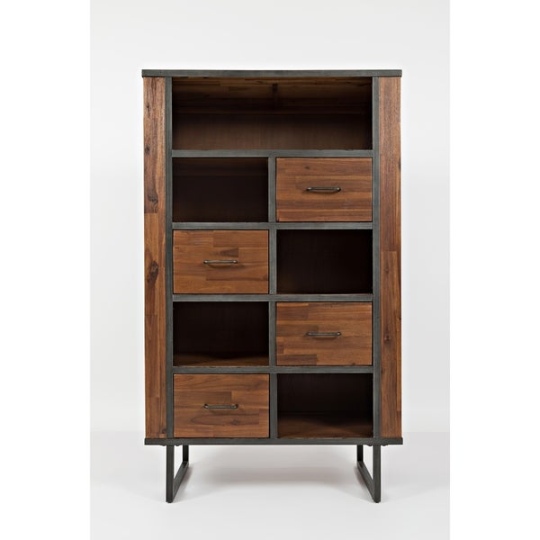 Transitional Style Wooden and Metal Bookcase with Spacious Storage, Brown