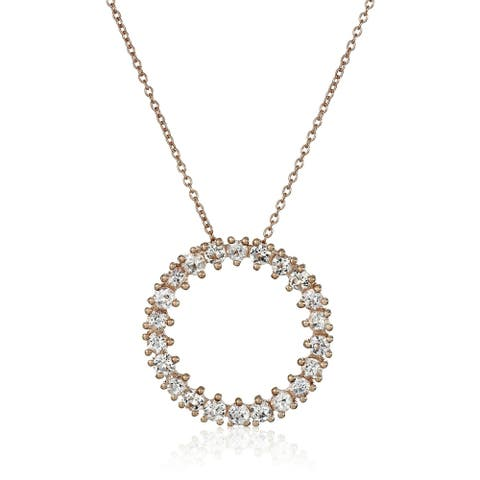 """Pinctore Rose Gold-Plated Silver Morganite Round Circle Pendant Necklace, 18"""""""