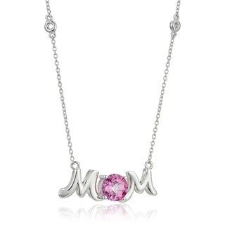 """Pinctore Sterling Silver Pink Topaz Mom Pendant Necklace, 18"""""""