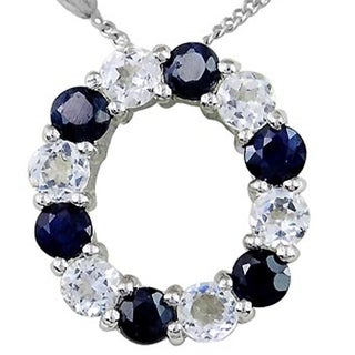Sterling Silver 1.78 Ct. Sapphire & White Topaz Initial 'O' Pendant