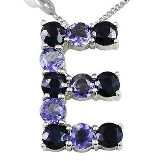 Sterling Silver 3.3 Ct. Sapphire & Iolite Initial 'E' Pendant Necklace