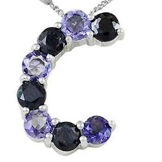 Sterling Silver 2.2 Ct. Sapphire & Iolite Initial 'C' Pendant Necklace