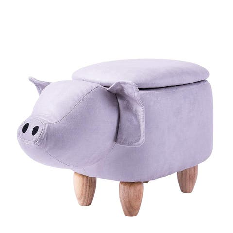 Merax Upholstered Ride-on Storage Pig Animal Ottoman Footrest Stool