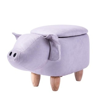 Merax Upholstered Pig Animal Storage Ottoman Footrest Stool