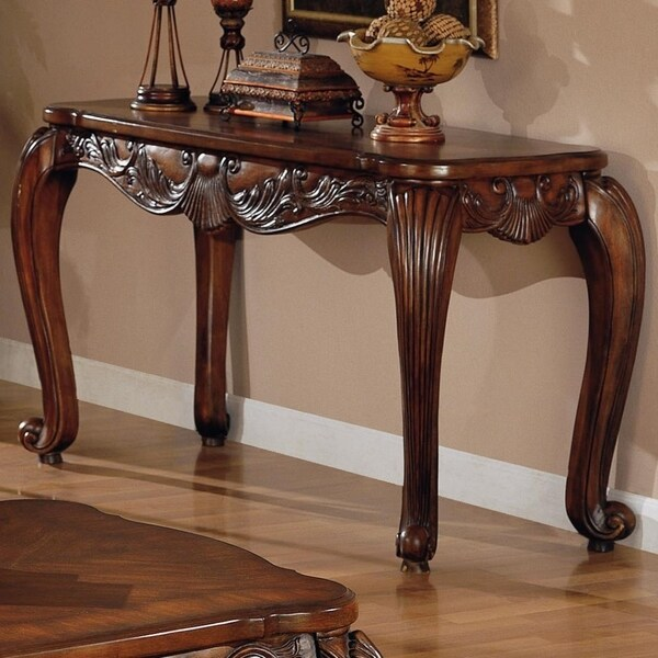 Traditional Style Solid Wooden Sofa Table With Floral Carvings, Warm Brown