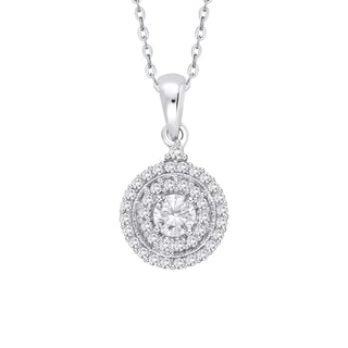 10K White Gold 3 4ct TDW Diamond Cluster Pendant G H I2