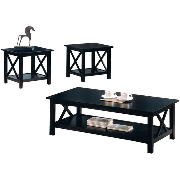 Wooden Table Set With X Design On Sides, Pack Of Three, Dark Brown