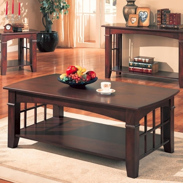 Transitional Solid Wooden Coffee Table With Open Bottom Shelf, Cherry Brown