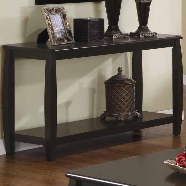 Contemporary Style Solid Wood Sofa Table With Slightly Rounded Shape, Dark Brown