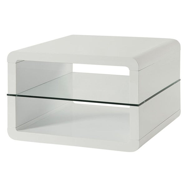 Shop Modern End Table With Rounded Corners U0026 Clear Tempered Glass Shelf,  White   Free Shipping Today   Overstock   24255831