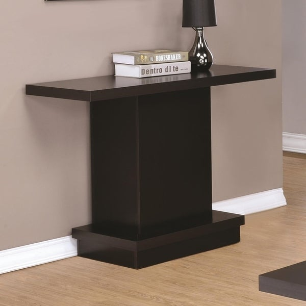 Contemporary Sofa Table With Pedestal Base, Cappuccino Brown