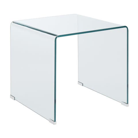 Contemporary Style Minimal Clear Glass End Table, Clear