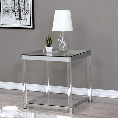 Contemporary Coffee Table with Tempered Glass Top & Chrome Silver Legs, Clear