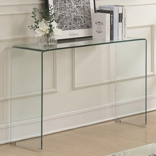 Contemporary Style Minimal Clear Glass Sofa Table, Clear