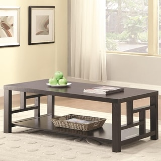 Contemporary Style Solid Wooden Coffee Table With Bottom Shelf, Brown