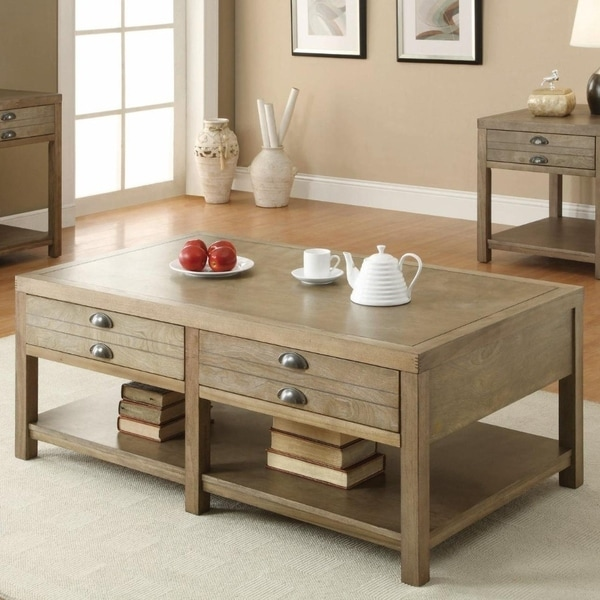 Minimal Wooden Coffee Table With 2drawer Bottom Shelf Natural Light Oak Brown
