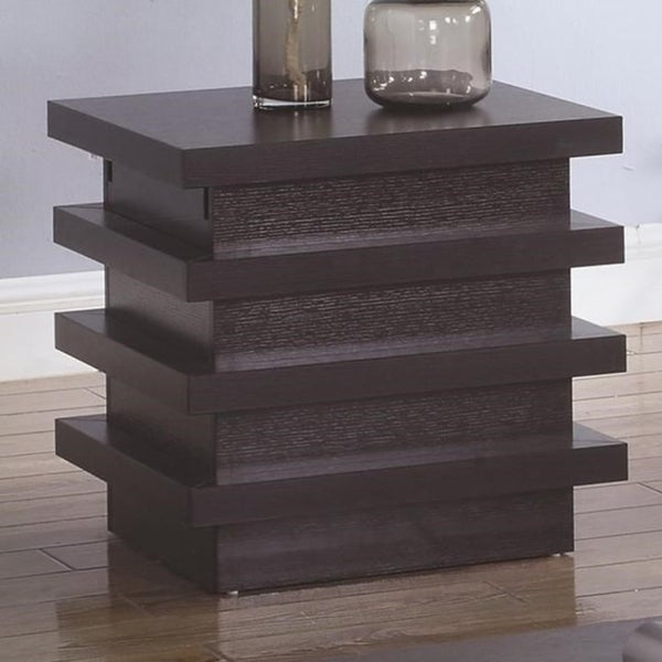 Contemporary Style Wooden End Table With Storage, Cocoa Brown