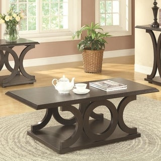 Contemporary Style C-Shaped Coffee Table With Open Shelf, Espresso Brown