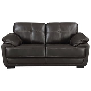 Contemporary Black Leatherette Love Seat With Double Stitch Contrast,Black