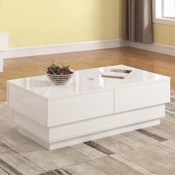 Contemporary Glossy White Coffee Table with Hidden Storage