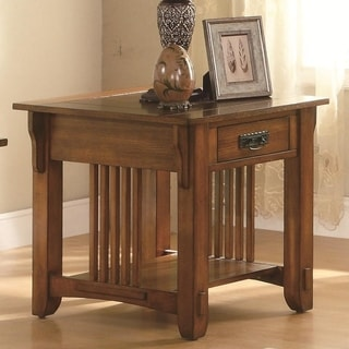 Transitional Style Slated Wooden End Table With Drawer And An Open Shelf, Brown